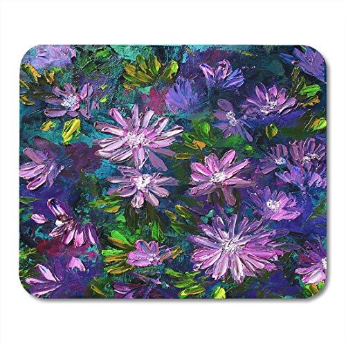 Muismat Life groen schilderij bloemen olie op canvas violet overzicht nog muismat muismat