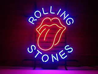 Urby™ Rolling Stones Real Glass Neon Light Sign Home Beer Bar Pub Recreation Room Game Room Windows Garage Wall Sign 18''x14'' A14-04