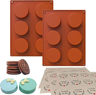 PRAMOO 2 Pcs Silicone Chocolate Cookie Mold, Round Cylinder Mold for Chocolate Covered Sandwich Cookies, Including 48 Hand...