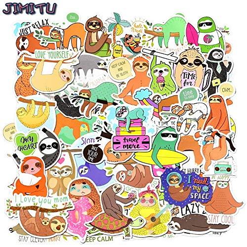 50 PCS Sloth Animal Stickers Cartoon Funny Decals Sticker for Children DIY Bicycle Laptop Tablet Travel Case Guitar Fridge Phone