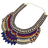 Yazilind Style Ethnique Bleu Multiple chaîne Perles Millet Chunky Déclaration Bib Choker Collier pour Les Femmes