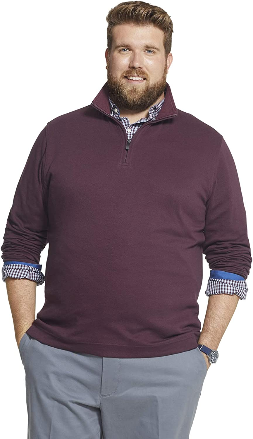 Geoffrey Beene Men's Big and Tall Long Sleeve Stretch Twill 1/4 Zip Pullover