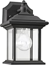 Sea Gull Lighting 85200-12 Wynfield One-Light Outdoor Wall Lantern with Clear Beveled Glass Panels, Black Finish