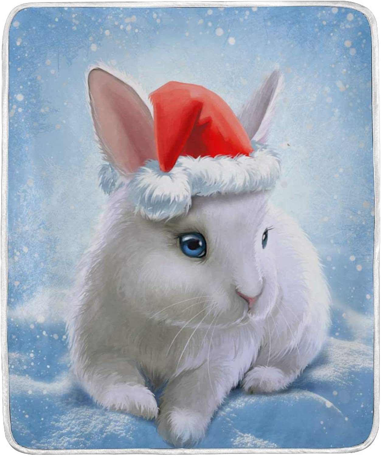 ALAZA Home Decor Christmas Rabbit Bunny with Santa Claus's Hat Blanket Soft Warm Blankets for Bed Couch Sofa Lightweight Travelling Camping 60 x 50 Inch Throw Size for Kids Boys Women