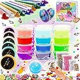 Kit de Slime Kit Brillan en la Oscuridad - 20 Colores Kit de Slime Esponjoso con Unicornio,...