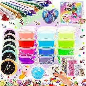 Kit de Slime Kit Brillan en la Oscuridad - 20 Colores Kit de Slime Esponjoso con Unicornio, Purpurina, Nube, Espuma y Más Juguete para Niñas