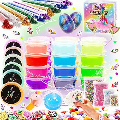Kit Completo per Slime Unicorno – 20 Colori Slime Kit per Ragazze Giocattoli con 10 Glitter in Polvere(Tutto Incluso)