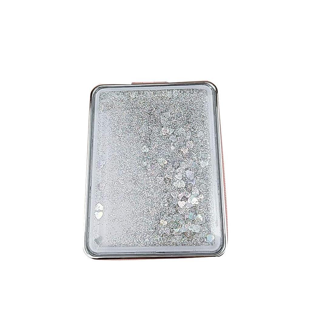 のためにスポット少なくとも折りたたみミラー、ポータブルラブリーミラーガール学生プリンセスミラー流砂送信ガールフレンド探しガラス (Color : Silver)