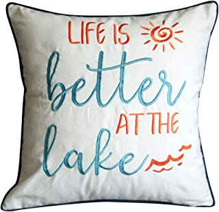 DECOPOW Embroidered Life is Better at The Lake Throw Pillow Cover,Square 18 inches Decorative Canvas Pillow Cover with Life is Better at The Lake Pattern,Cover Only