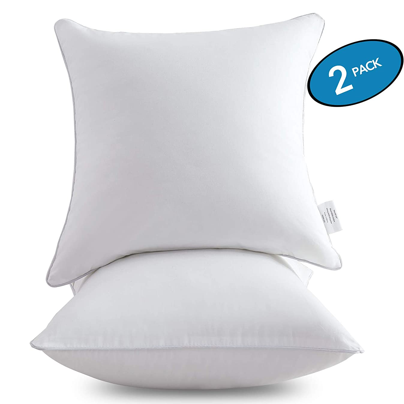 MoMA 18 x 18 Pillow Inserts (Set of 2) - Throw Pillow Inserts with 100% Cotton Cover - 18 Inch Square Interior Sofa Pillow Inserts - Decorative Pillow Insert Pair - White Couch Pillow