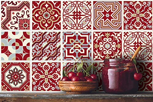 IRI-GIRI 12 PC Pack (6 X 6) Art Eclectic Peel and Stick Wall Sticky Backsplash Vinyl Waterproof Removable Tile Sticker Decals for Bathroom & Kitchen, 6x6 Inch, Maroon Red 1276-6-IG