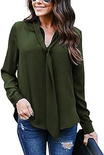 c77169175e0ff6 Yidarton Women V Neck Chiffon Long Sleeve Solid Color Casual Tops Shirts  Blouse