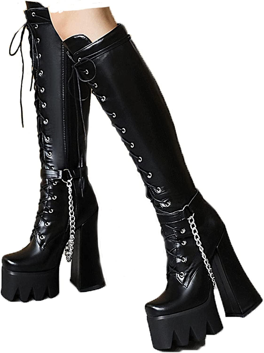 CYNLLIO Women's Platform Over Knee High Boots Multi Buckle Chunky Heel Boots Black Gothic Motorcyle Boots Cool Punk Style Boots