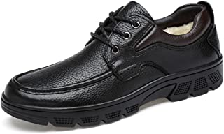Men's Fashion Oxford Casual Soft Aseismatic Light Belt Outsole Formal Shoes(Quick Velvety Optional) casual shoes (Color : Warm Black, Size : 49 EU)