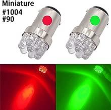 Shangyuan Red Green 90 1004 BA15D Miniature Marine LED Bulb Boat Bow Light Navigation Light Port Light Starboard Light Pole Light Running Lights Transom Mount Lights DC 12V (Pack of 2)