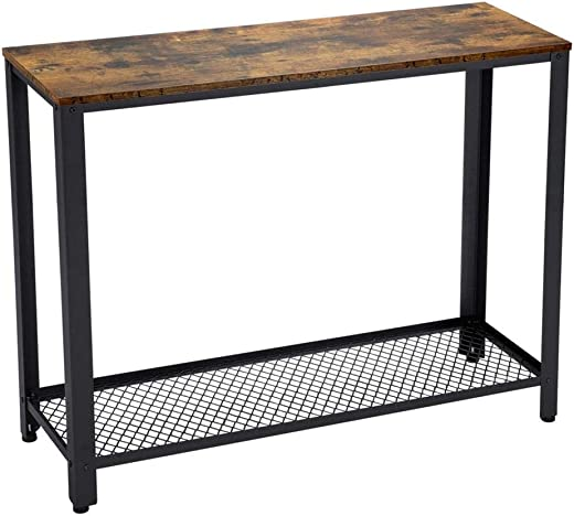 B07W3KL8X2✅Yaheetech Industrial Console Table with Storage Shelf for Hallway, Sofa Table with Metal Legs for Living Room, Easy Assembly, Side Table for Narrow Space, Rustic Brown