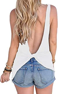 Famulily Women's Sexy Sleeveless Open Back Shirt Knotted Tank Top