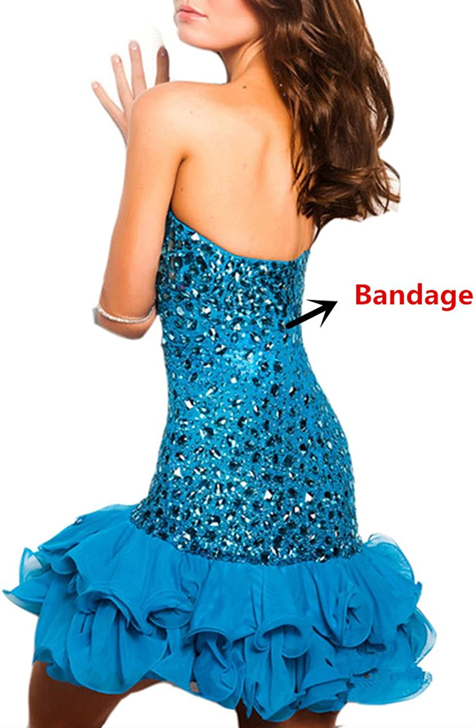 Emmani Women's Short Sweetheart Crystal Beaded Bling Cocktail Dresses Party Gown