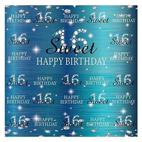 Funnytree Sweet 16th Birthday Party Backdrop Royal Blue Princess Girl Step Repeat Diamonds Glitter Photography Background Sixteen Years Old Age Portrait Decorations Banner Photo Booth 6x6ft