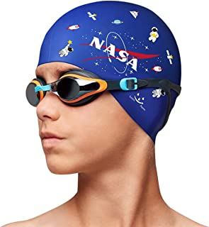 Swim Apex Silicone Kids Swim Cap for Girls Boys Teens (Age 2-12), Durable Silicone Swimming Cap for Kids Youths Boys Girls, Baby Waterproof Caps for Long Hair and Short Hair with NASA Galaxy Print