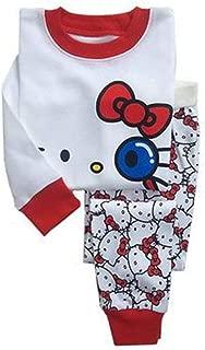 Hello Kitty Sleepwear 100% Cotton Pajamas Kids Cute Cartoon Long Sleeve Shirts Set for Girls