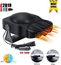 【New Upgrade】Portable Car Heater, 2 in 1 Fast Heating Car Heater with Heating & Cooling Defroster Defogger Automobile Windscreen Fan 12V 150W, 3-Outlet Plug Adjustable Thermostat in Cigarette Lighter