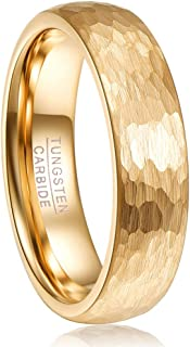 6mm Gold Tone Hammered Tungsten Carbide Ring Domed Wedding Band for Men Women Size 5-12