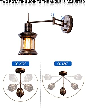Wall Light Fixture, FLOURIM UL Farmhouse Dimmable Swing Arm Wall Lamp Hardwire or Plug in Wall Sconce Rustic Vintage Bedside