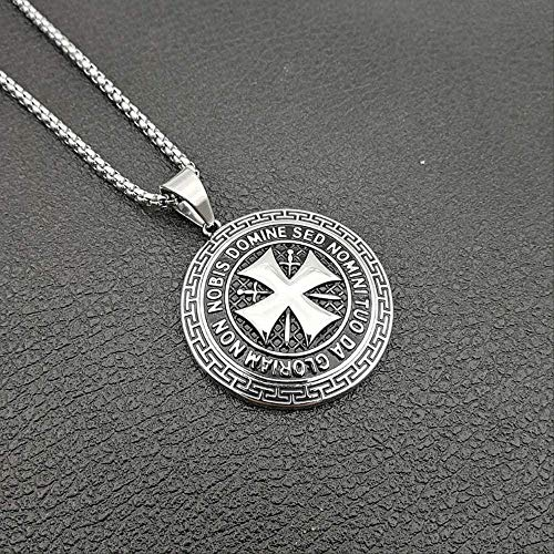 Yaoliangliang Necklace Mens 316L Stainless Steel Maltese Cross Necklace Knights Templar T Round Templar Black Maltese Symbol Ts