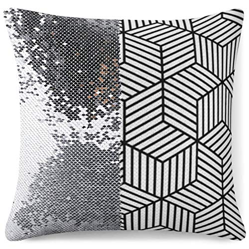 Tamengi Sequin Pillow Cover, Black and White Line Cube Pattern, Zipper Pillowslip Pillowcase, Decorations for Sofas, Armchairs, Beds, Floors, Cars
