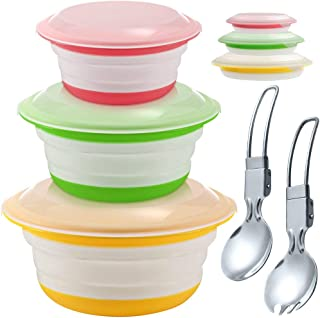 Silicone Food Storage Container with Lid Microwave Freezer and Dishwasher Safe, Foldable Expandable Bowls for Food Water Feeding, Portable Travel Bowl