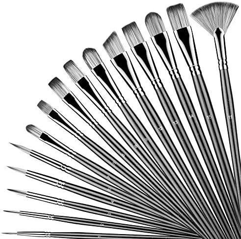 Shiseptic Artist Paint Brushes Set of 15 Different Size Anti Shedding Art Brushes Kits for Beginners product image