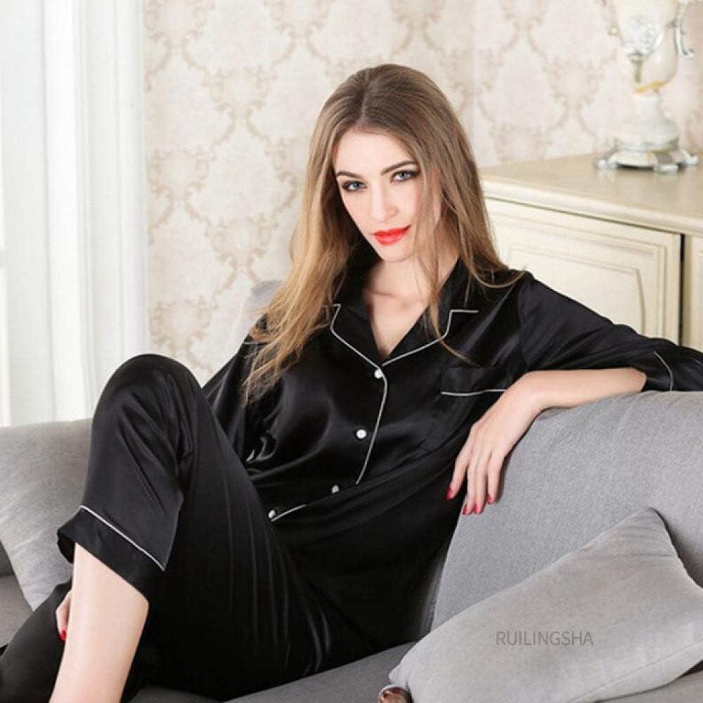 KTUCN Summer Silk Thin Pajama Sets, Nightwear Pajamas Girl Men Fashion Lover Sleep Wear,Black,XL