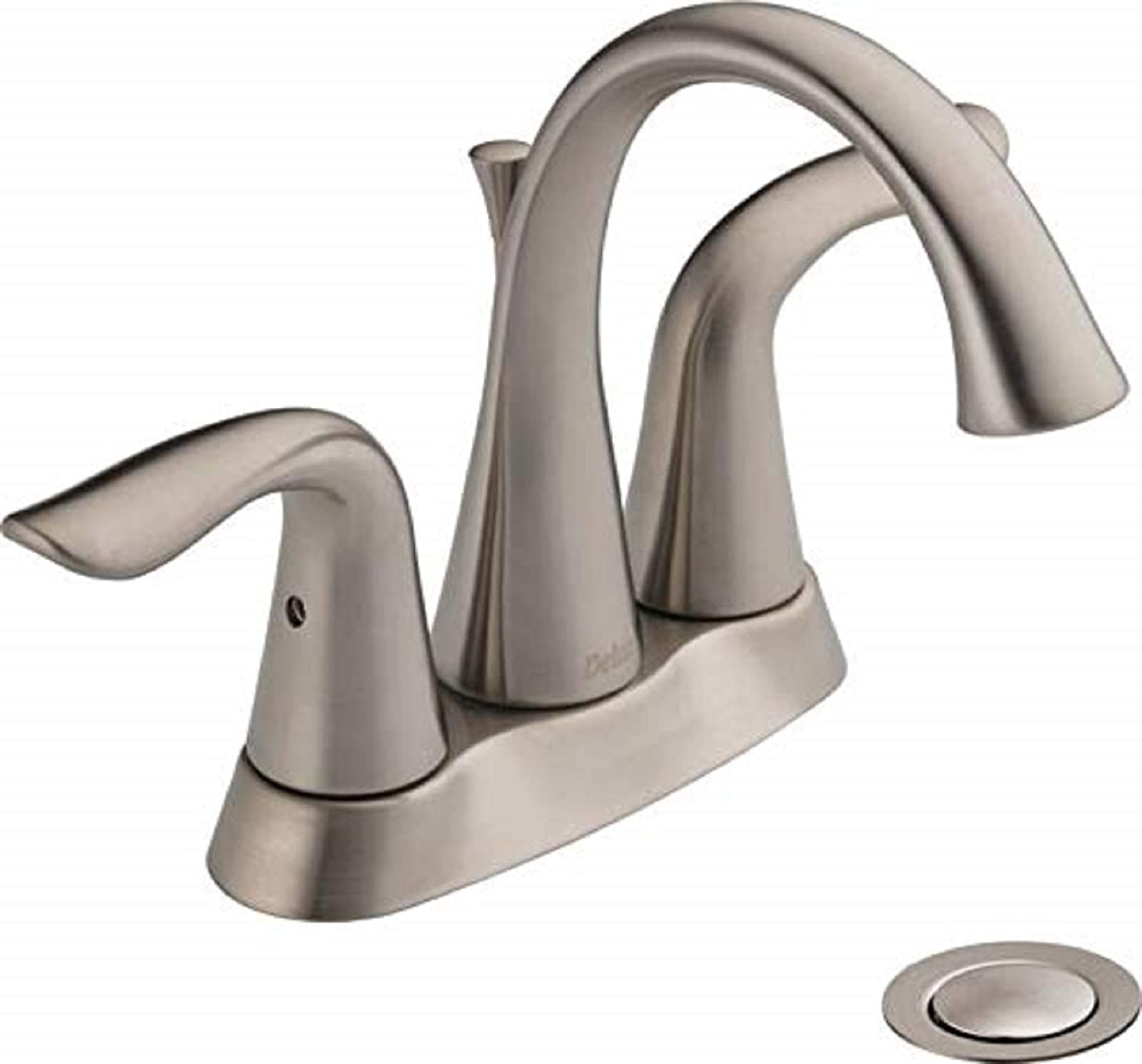 Delta Faucet Lahara Centerset Bathroom Faucet Brushed Nickel, Bathroom Sink  Faucet, Diamond Seal Technology, Metal Drain Assembly, Stainless ...