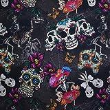 TRIXES Baumwollstoff - Candy Skull Print Design - Stickerei