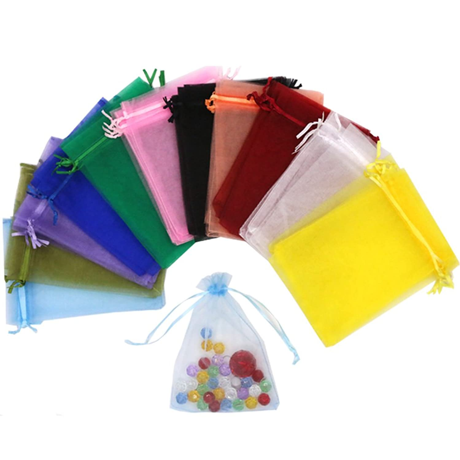 SumDirect 110Pcs 5x7inches Mixed Color Sheer Drawstring Organza Jewelry Pouches Wedding Party Christmas Favor Gift Bags (5x7inches, Mixed Color)