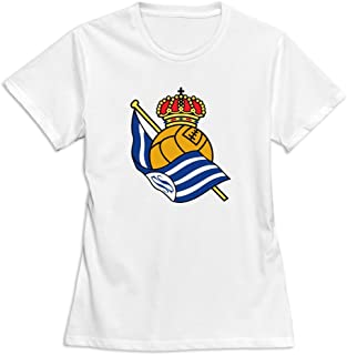 Flycro Short Sleeve Women's Real Sociedad Logo Fashion T-Shirt Size XXL Color White