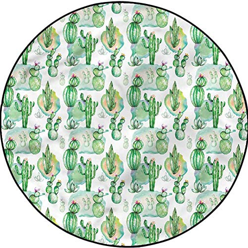Cactus Non-Slip Round Area Rug for Luxury Carpets for Floors and Bed Mexican Hot Summer Art Diameter 54 in(137cm)
