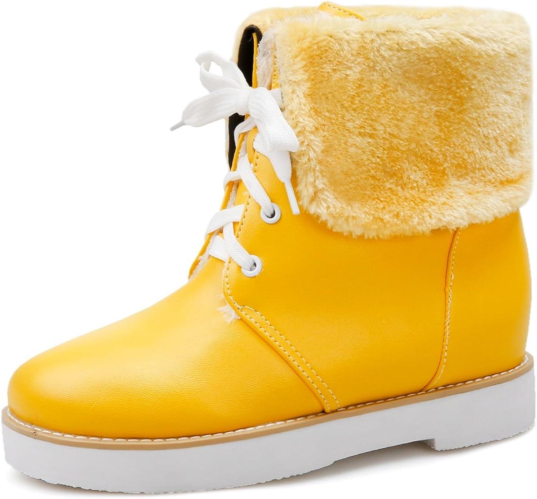 DoraTasia Women's Lace up Faux Fur Platform Winter Ankle Snow Boots