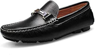Xujw-shoes, Black Withe Mens Loafers Leather Driving Loafers for Men Solid Colors Boat Moccasins Slip On PU Leather Metaldecor Comfort Wear-Resisting Easy Care