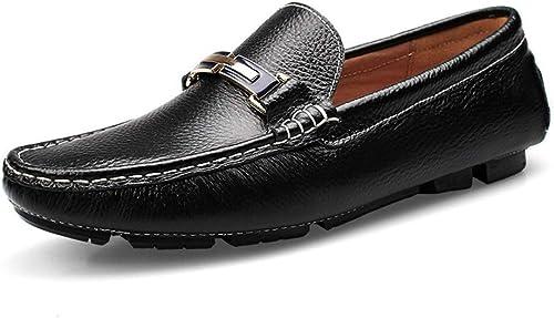 EGS-chaussures Mocassins Mocassins Mocassins de Conduite pour Hommes, Bateau, Mocassins, Chaussures en Cuir Metaldecor Comfort résistantes à l'usure Chaussures de Cricket (Couleur   Noir, Taille   42 EU) 930