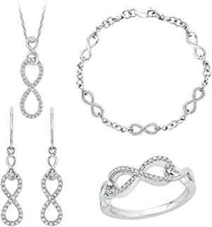 Infinity Diamond Jewelry Set in Sterling Silver (3/4 cttw)
