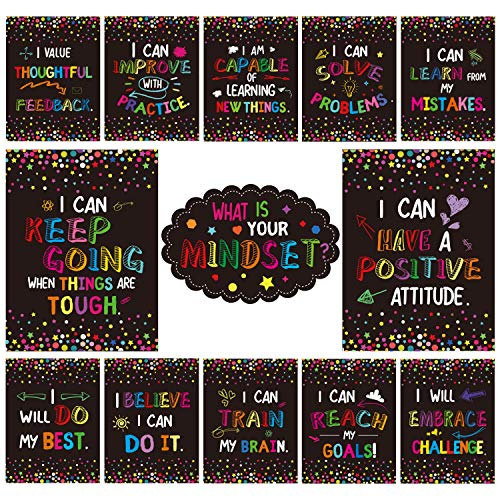 Growth Mindset Posters for Classroom Bulletin Board Display, Yoklili Confetti Themed What is Your Mindset Positive Sayings Accents Brights for Classroom Decor
