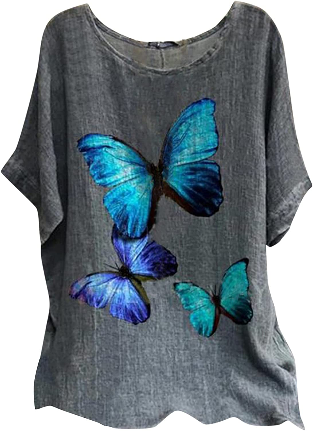 Womens Plus Size Summer Casual Tops, Short Sleeve Linen Shirts Floral Printed Loose Blouses Tunics T-Shirts