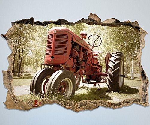 wandmotiv24 3D-Wandsticker Alter Traktor Design 01 - mittel Aufkleber Wand-deko, Wandbild, 3D Effekt, Fenster, Mauer, Wandaufkleber, Sticker M0517