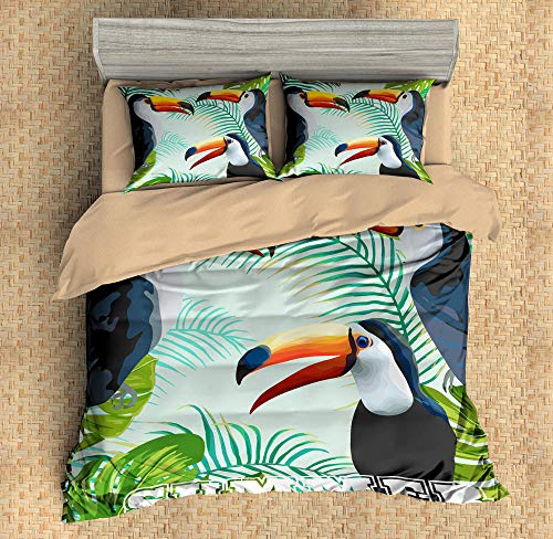 General brand 3 Pieces Bedding 3D Pattern Printed Rainforest Leaves And Brazilian Birds 200x200cm Zipper Closure Duvet Cover with 2x50x75cm pillow case Soft Microfiber Quilt Cover Set for Child adult