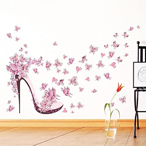 Gemini_mall® Pink Butterfly High Heels Wall Art Sticker Door Stairs Living Room Bedroom Decor Woman
