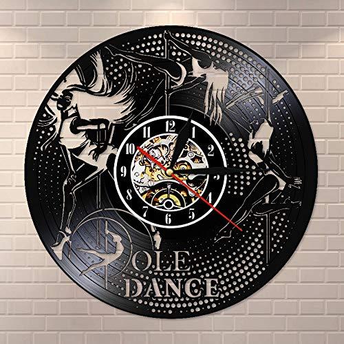 Reloj de pared de vinilo con diseño de polos de danza de polos y discotecas vintage, decoración de pared, tubo de acero, reloj de pared, hecho a mano, regalo de