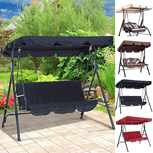 Heflashor Replacement Canopy for Swing, 3 Seater Garden Swing Chair Canopy Waterproof Top Cover for Outdoor Garden Patio Yard (Only Swing Top Canopy)