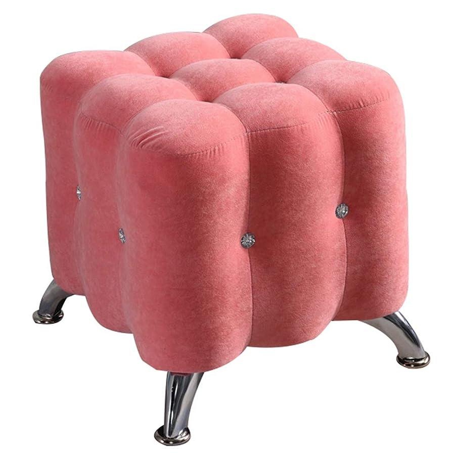 動かない邪悪な篭CAIJUN オットマン 足置き フットスツール フランネル 木製フレーム 厚いスポンジ 金属製の足の足 屋内 多機能 ポータブル ヨーロッパスタイル、 5色 (色 : ピンク, サイズ さいず : 40x40x40cm)